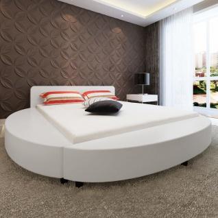 vidaXL Bett mit Matratze 180 x 200 cm Rund Kunstleder Weiß