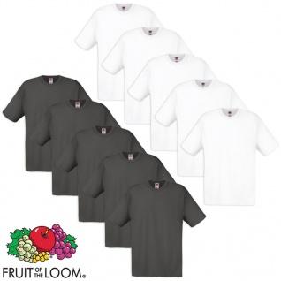 10 Fruit of the Loom Original T-Shirt Baumwolle Weiß/Graphit S