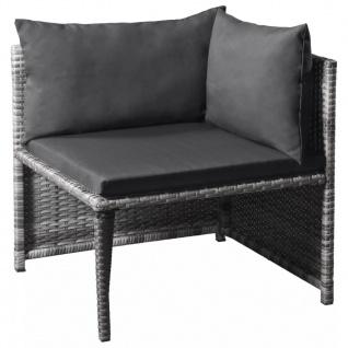 vidaXL 6-tlg. Garten-Lounge-Set mit Auflagen Poly Rattan Grau - Vorschau 3