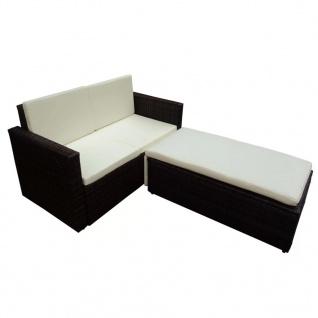 vidaXL 2-tlg. Garten-Lounge-Set mit Auflagen Poly Rattan Braun - Vorschau 3