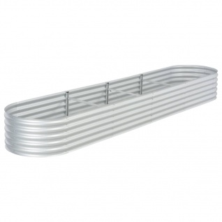 vidaXL Pflanzkübel Silbern 400 x 80 x 44 cm Verzinkter Stahl