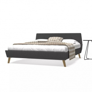 vidaXL Bett mit Memory-Schaum-Matratze 160 x 200 cm Stoff Dunkelgrau (245133+241075)