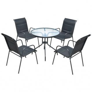 vidaXL Garten-Essgruppe 5-tlg. Stahl 80 x 71 cm Schwarz
