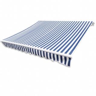 vidaXL Markisenstoff Sonnenschutz Blau & Weiß 4×3 m (ohne Rahmen)