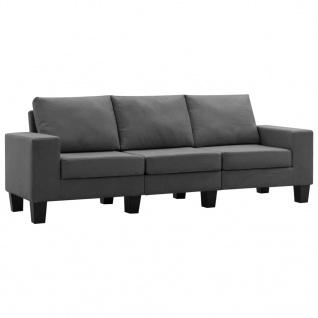 vidaXL 3-Sitzer-Sofa Dunkelgrau Stoff - Vorschau 2