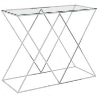 vidaXL Beistelltisch Silbern 90x40x75 cm Edelstahl und Glas