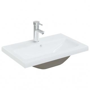 vidaXL Einbauwaschbecken mit Wasserhahn 61x39x18 cm Keramik Weiß
