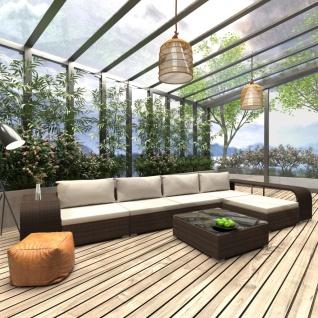 vidaXL 8-tlg. Garten-Lounge-Set mit Auflagen Poly Rattan Braun - Vorschau 1