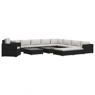 vidaXL 13-tlg. Garten-Lounge-Set mit Auflagen Poly Rattan Schwarz - Vorschau 2