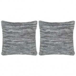 vidaXL Kissen 2 Stk. Chindi Grau 45 x 45 cm Leder und Baumwolle