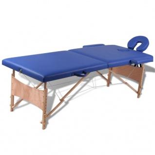 Massagetisch mit Holzrahmen, faltbar 2 Zonen Blau
