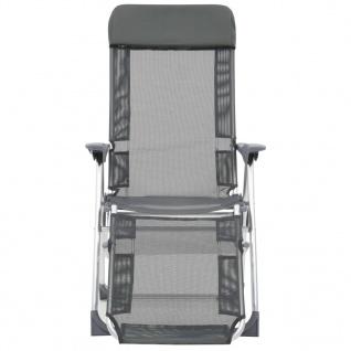 vidaXL Faltbare Campingstühle 2 Stück mit Fußstütze Grau Aluminium - Vorschau 2