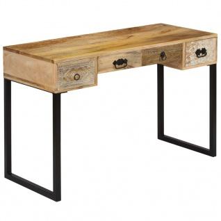 vidaXL Schreibtisch Mangoholz Massiv und Echtleder 117x50x76 cm