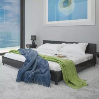 vidaXL Bett mit Matratze 180×200 cm Kunstleder Schwarz
