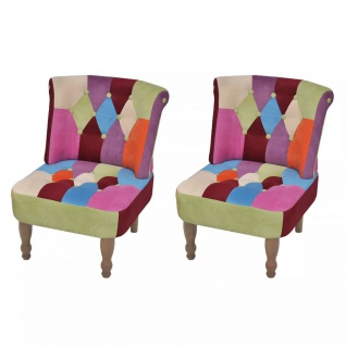 vidaXL Französischer Sessel 2 Stk. Patchwork-Design Stoff - Vorschau 1