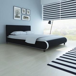 vidaXL Bett mit Memory-Schaum-Matratze Kunstleder 140 x 200 cm Schwarz