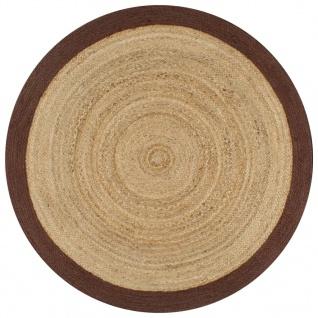 vidaXL Teppich Handgefertigt Jute mit Braunem Rand 150 cm