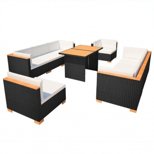 polyrattan lounge set schwarz, vidaxl 32-tlg. garten-lounge-set poly rattan wpc schwarz - kaufen, Design ideen