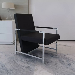 vidaXL Sessel mit verchromten Füßen Schwarz Kunstleder
