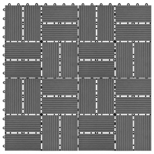 vidaXL Terrassenfliesen 11 Stück WPC 30 x 30 cm 1 qm Grau