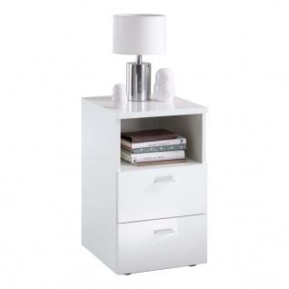 FMD Nachttisch mit 2 Schubladen und Ablage Hochglanz-Weiß