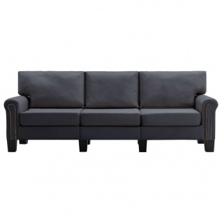 vidaXL 3-Sitzer-Sofa Dunkelgrau Stoff - Vorschau 4
