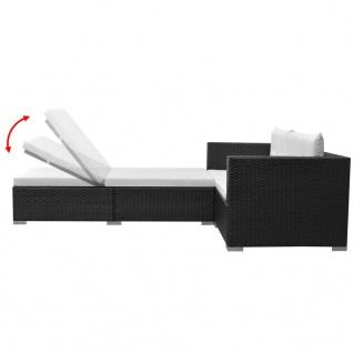 vidaXL 3-tlg. Garten-Lounge-Set mit Auflagen Poly Rattan Schwarz - Vorschau 4
