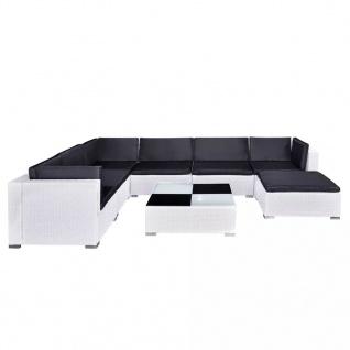 vidaXL 8-tlg. Garten-Lounge-Set mit Auflagen Poly Rattan Weiß - Vorschau 5