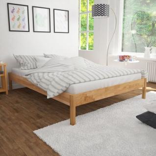 vidaXL Doppelbett mit Memory-Schaum-Matratze Eiche Massiv 180x200 cm