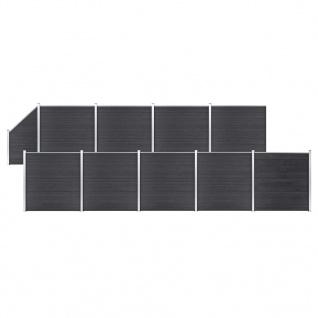 vidaXL WPC Zaun-Set 9 Quadrate + 1 Schräge 1657x186 cm Grau
