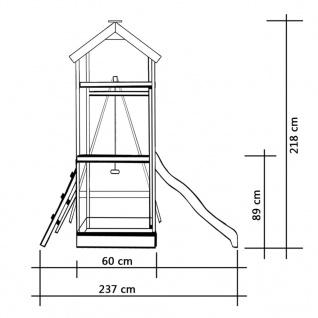 vidaXL Spielturm mit Rutsche Leitern Schaukel 242 x 237 x 218 cm Holz - Vorschau 5