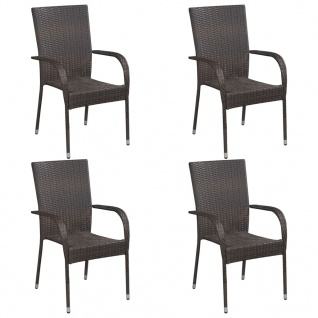 vidaXL Stapelbare Gartenstühle 4 Stk. Poly Rattan Braun