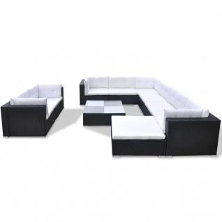 vidaXL 10-tlg. Garten-Lounge-Set mit Auflagen Poly Rattan Schwarz - Vorschau 2