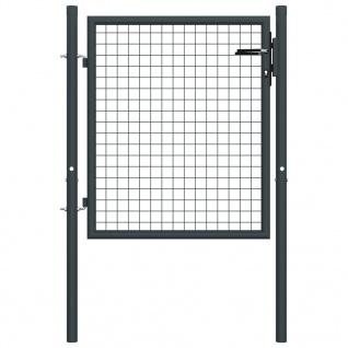 vidaXL Mesh-Gartentor Verzinkter Stahl 100 x 125 cm Grau
