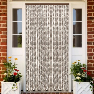 vidaXL Insektenschutz-Vorhang Taupe und Weiß 100x220 cm Chenille
