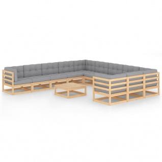 vidaXL 12-tlg. Garten-Lounge-Set mit Kissen Massivholz Kiefer