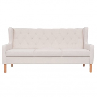 vidaXL Sofa-Set 2-tlg. Stoff Cremeweiß - Vorschau 4
