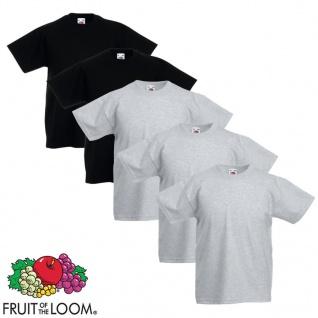 Fruit of the Loom Kinder-T-Shirt 5 Stk. Grau und Schwarz Größe 128