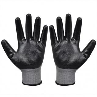 vidaXL Arbeitshandschuhe Nitril 1 Paar Grau und Schwarz Größe 9/L - Vorschau 3