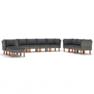 vidaXL 10-tlg. Garten-Lounge-Set mit Kissen Poly Rattan Grau