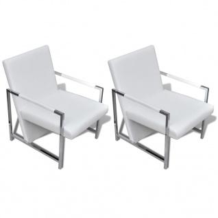 vidaXL Sessel 2 Stk. Verchromtes Gestell Weiß Kunstleder - Vorschau 2