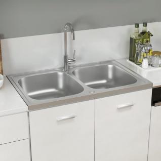 vidaXL Küchenspüle mit Doppelbecken Silbern 800x500x155 mm Edelstahl
