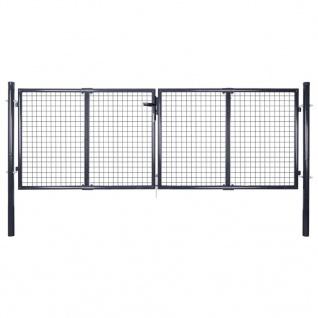 vidaXL Mesh-Gartentor Verzinkter Stahl 289 x 125 cm Grau