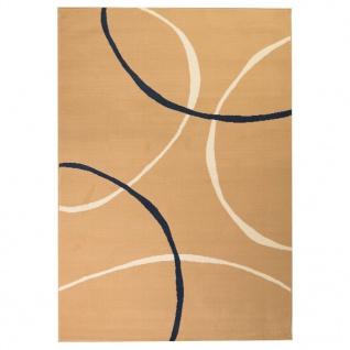 vidaXL Teppich Modern Kreise 140 x 200 cm Braun