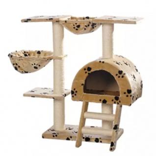 Katzenkratzbaum Katzenbaum Beige mit Pfotenabdruck