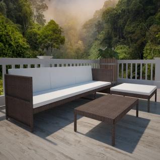 vidaXL 3-tlg. Garten-Lounge-Set mit Auflagen Poly Rattan Braun - Vorschau 3