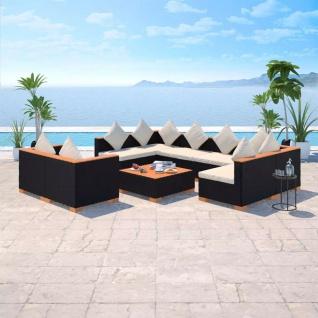 vidaXL 9-tlg. Garten-Lounge-Set mit Auflagen Poly Rattan Schwarz