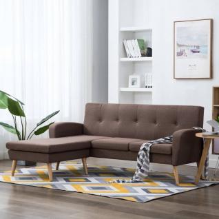 vidaXL Sofa in L-Form Stoffbezug 186 x 136 x 79 cm Braun
