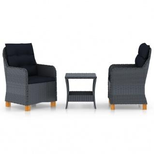 vidaXL 3-tlg. Garten-Lounge-Set mit Auflagen Poly Rattan Dunkelgrau - Vorschau 1
