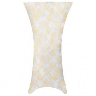 vidaXL 2 Stück Stretch-Tischdecken Weiß mit goldenem Druck 70 cm